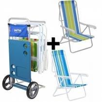 Carrinho de Praia + 2 Cadeiras de Praia em Aco Reclinavel 8 Posicoes Mor -