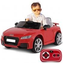 Carrinho Elétrico Infantil Audi TT RS Vermelho Controle Remoto Entrada Auxiliar MP3 12V 2 Portas - Bel fix
