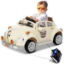 Carrinho Elétrico Infantil Fusca Bege Controle Remoto Entrada Auxiliar MP3 6V 2 Portas - Bel fix