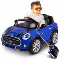 Carrinho Eletrico Infantil Mini Cooper Azul Controle Remoto Auxiliar P2 MP3 12V 2 Portas - Bel fix