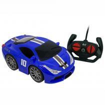 Carro de Controle Remoto Azul Garagem SA Famous Car com 7 Funções - Candide -