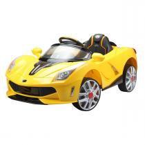 Carro Elétrico Esporte Luxo Amarelo Com Controle Remoto 12V Bel Brink - Bel Brink