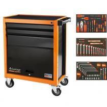 Carro para ferramentas 3 gavetas e 1 porta com 90 peças - Tramontina PRO -