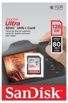 Cartão 128GB SD - Sandisk Ultra - Velocidade até 80MB/s - Classe 10 - SDSDUNC-128G -