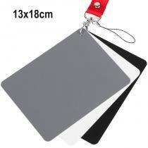 Cartão Cinza 18 3 Em 1 - Balanço De Branco Fotometria Estudio 13x18cm - Rollin