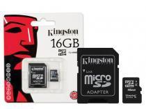 Cartao de Memoria 16GB Classe 4 Kingston Microsd Adpatador para SD - SDC4/16GB -