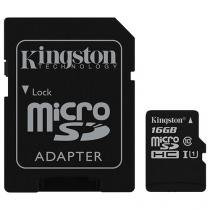 Cartão de Memória 16GB Micro SDHC Classe 10 - com Adaptador Kingston SDC10G2