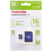 Cartão de Memória 16GB Micro SDHC Classe 10 - com Adaptador - Toshiba