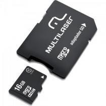 Cartao de memoria 16gb micro sdhc com adaptador mc110 classe 10 multilaser -