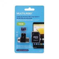 Cartão de memória 4x1 ultra high speed até 80 mb/s uhs1 16gb +adaptador sd usb dual mc150 classe 10 - Multilaser