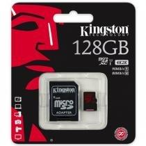 Cartão de Memória Classe 10 Kingston Micro SDXC 128GB  U3 Com Adaptador SD - SDCA3/128GB -