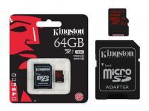 Cartao de memoria classe 10 kingston sdca3/64gb micro sdxc 64gb uhs-i u3 com adaptador sd -