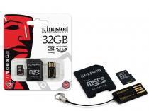 Cartao de memoria classe 4 kingston mbly4g2/32gb multikit 32gb micro sd + adptador sd + adptador usb -