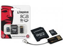 Cartao de memoria classe 4 kingston mbly4g2/8gb multikit 8gb micro sd + adaptador sd + adaptador usb -