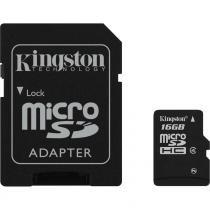 Cartão de Memória Kingston 16GB MicroSDHC com Adaptador SD (classe 4) -