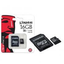 Cartão de Memória Kingston Classe 10 Micro SDHC 16GB com Adaptador SD SDC10G2-16GB -