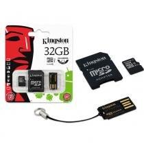 Cartão de Memória Kingston Classe 10 Micro SDHC com Adaptador SD e USB 32GB MBLY10G2/32GB -