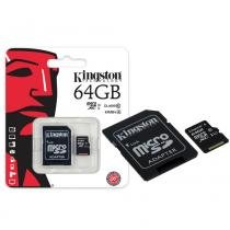 Cartão de Memória Kingston Classe 10 Micro SDXC 64GB com Adaptador SD SDC10G2-64GB -