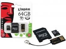 Cartão de Memória Kingston Micro SD 64GB Classe 10 Microsdxc + 1 Adaptador SD + 1 Adaptador USB MBLY10G2/64GB -