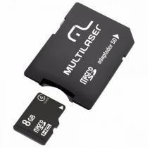 Cartão de Memória Micro SD 8GB c/ Leitor de Cartão e Adaptador (Emb. contém 1un.) - Multilaser -
