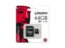 Cartão de Memória Micro SD Kingston 64GB Classe 10 com Adaptador - SDC10G2/64GB -