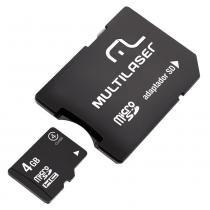 Cartao de Memoria  Micro SD Multilaser 4GB C/ADAP SD MC456 -