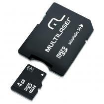 Cartão de Memória Multilaser 4GB Micro SD com Adaptador SD MC456 -