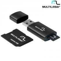 Cartão de Memória Multilaser Micro SD 4GB c/ Leitor de Cartão e Adaptador -