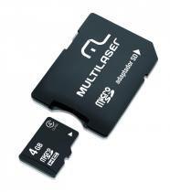 Cartao de Memória Multilaser Micro SD com Adaptador 4GB - MC456 - Neutro -