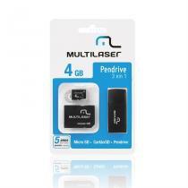 Cartão De Memória Multilaser Microsd + Sd + Pen Drive 4Gb Kit 3 Em 1 - MC057 -