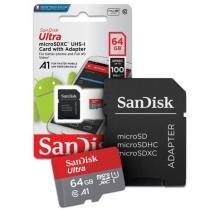 Cartão de Memória Sandisk 64gb Ultra Armazenamento de Vídeos Fotos Músicas e Documentos -