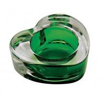 Castiçal de Vidro Coração Verde - Intraco