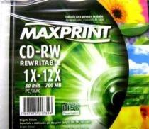 CD-Rw 80 700mb 12x Regravavel Slim  - Maxprint - 1