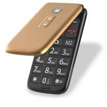 Celular Flip Vita Dual Chip MP3 Dourado Multilaser - P9043 - Dourado - Multilaser