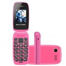 Celular multilaser flip up dual rosa p9023 - câmera digital, memória expansível, conexão micro usb -
