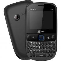 "Celular Qwerty 3 chip,Tela LCD 2"", Bluetooth, Radio FM e TV analógica, Câmera, MP3, Micro SD - Lenox - Lenoxx"