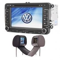 Central Multimídia Amarok Jetta GPS Tv Digital + 2 Encostos de Cabeca - X3automotive