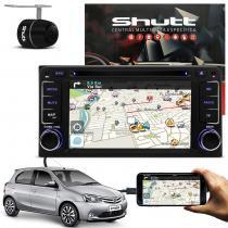 Central Multimídia Etios Hatch 14 a 18 Shutt DVD Espelhamento Android TV GPS USB Bluetooth Câmera Ré -
