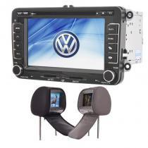 Central Multimídia Jetta GPS Tv Camera Usb Sd BT + 1 encosto Espelhamento - X3automotive