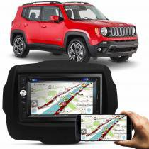 Central Multimídia Multilaser USB SD Bluetooth + Moldura Painel Jeep renegade 15 a 17 Preto - Prime
