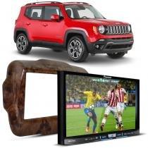 Central Multimídia Pioneer AVIC-F80TV 2 Din Mirror Link + Moldura Jeep Renegade 15 a 17 Madeira - Prime