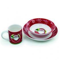 Cerâmica KIT Breakfast Papai Noel Xícara Bowl Prato - 3 Unidades - Cromus