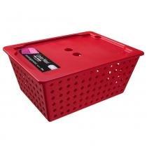 Cesta Organizadora Maxi com Tampa Vermelha 10829/0053 - Coza - Coza