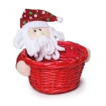 Cesta Vime Papai Noel Decoração Natal Vermelha - Cromus
