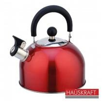 Chaleira Apito Fixo em Aço Inox 2,3 litros Vermelha Hauskraft K-004BC-VM - Hercules -