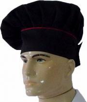 Chapéu Mestre Cuca Chef de Cozinha Preto/ Vermelho - Wp confecções