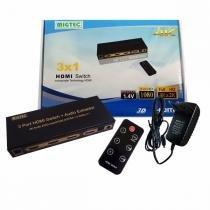 Chaveador Switch Hdmi 3x1 Migtec 3d 4K2K Saída de Som Externo P2 SPDIF DK303B -