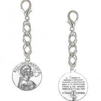 Chaveiro Flor de Prata Medalha Italiana São Francisco Prata -