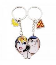 Chaveiro Mulher Maravilha E Superman Coração - Liga Da Justiça - Dc comics