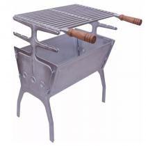Churrasqueira Portátil de Alumínio Fundido 50x30 Desmontável e Grelha - Marivent